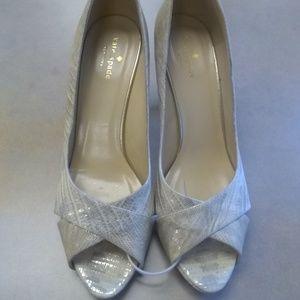 Kate Spade Metallic Peep Toe Heels